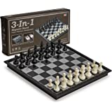 3 in 1 Travel Magnetic Chess, Checkers, Backgammon, 9.8 Inches