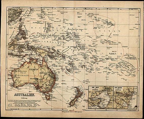 Detailed Map Of Australia.Amazon Com Oceania Australia New Zealand Jackson Port Insets C 1867