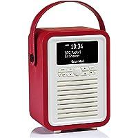 VQ Retro Mini DAB+ Digital Radio with AM/FM, Bluetooth & Alarm Clock – Red