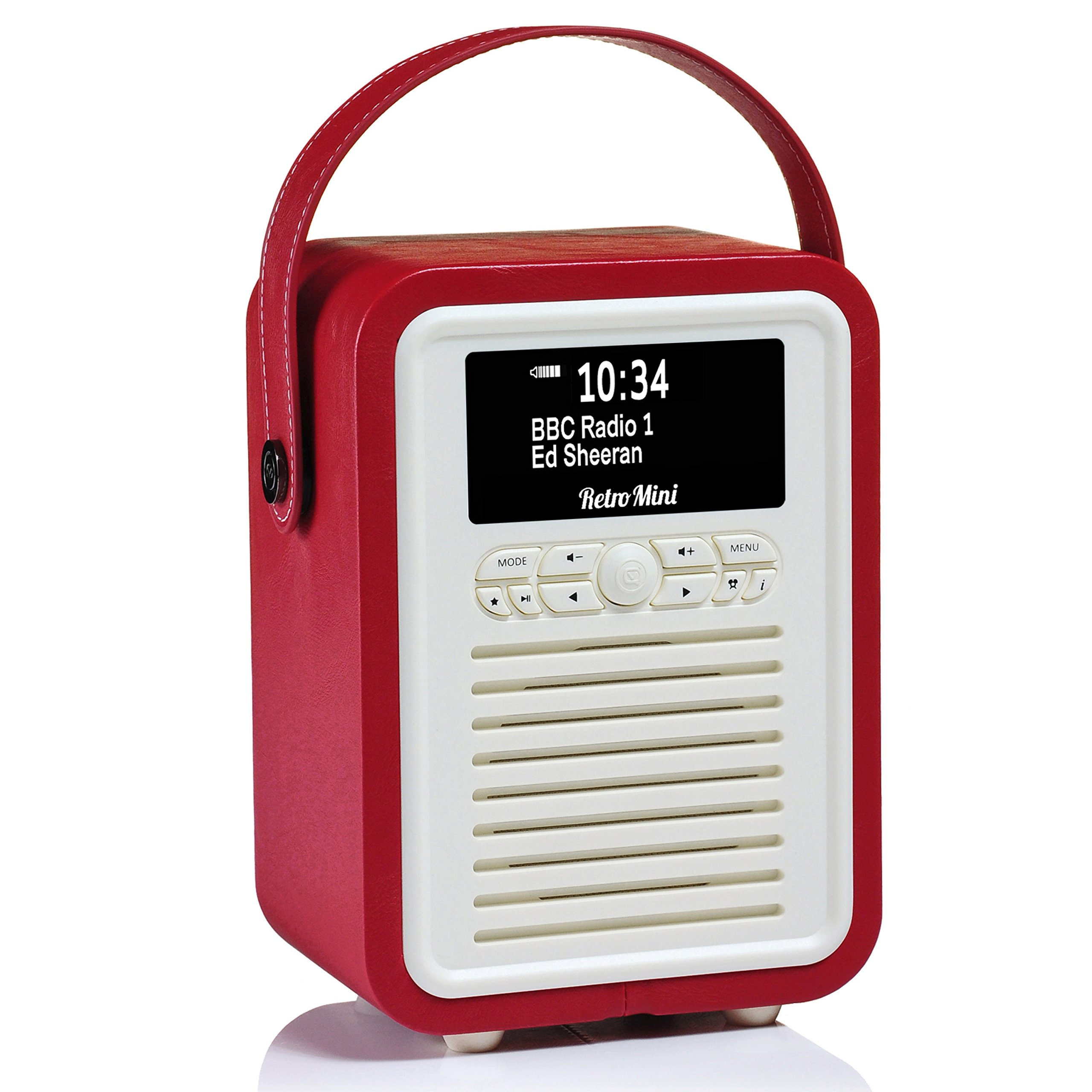 Retro Mini by VQ | Radio & Bluetooth Speaker with AM/FM & HD Radio, Dual Alarm Clock Mains or Battery – Premium PU Leather Case Red