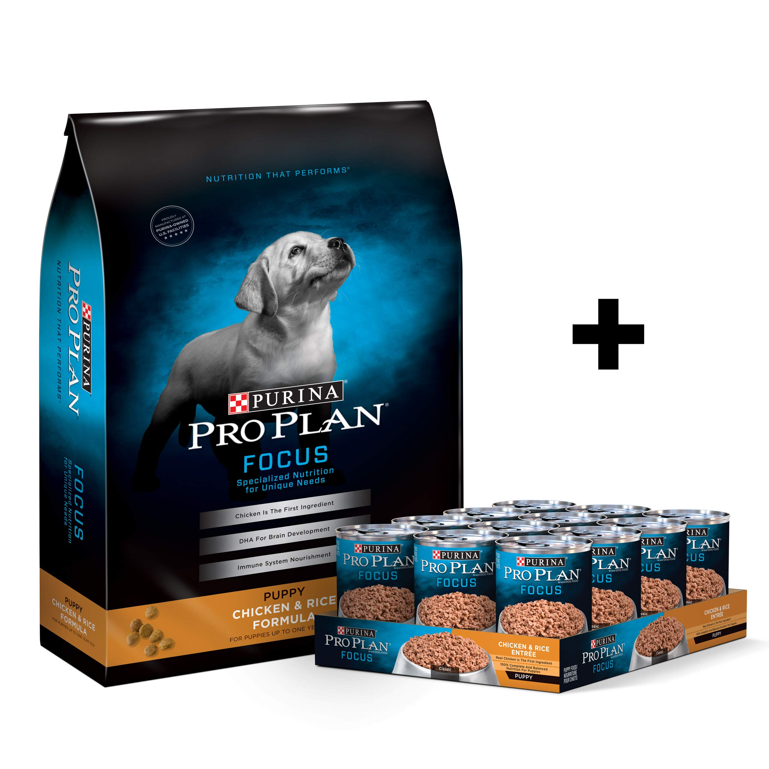 Purina Pro Plan Puppy - Dry Dog Food & Canned Wet Dog Food Bundle Package by Purina Pro Plan