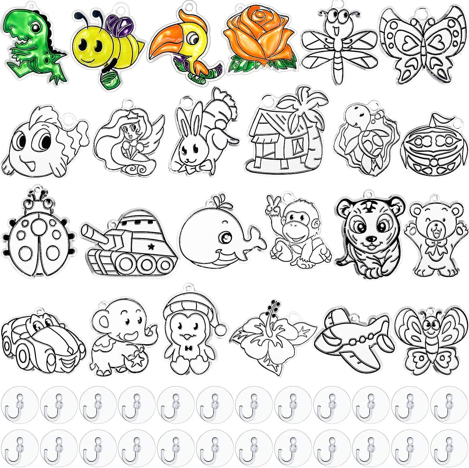24 Pieces Christmas Suncatchers Craft Kits Assorted Sun Catcher for Kids Art Window Suncatchers Kits with 24 Pieces Suction Cups for Painting Crafts Home Decor Supplies (Animals Theme)