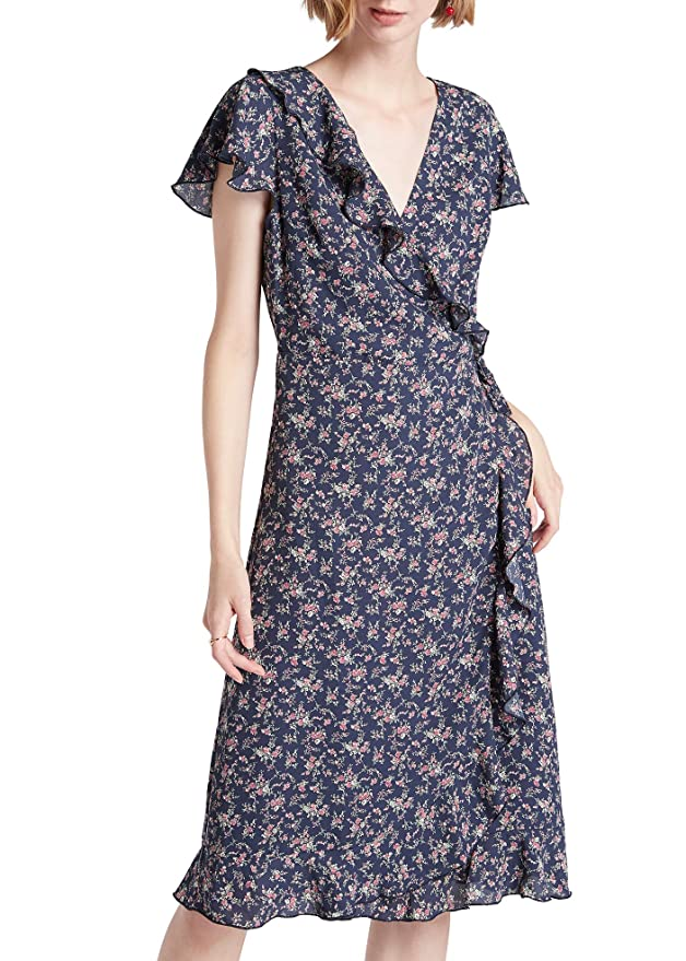 500 Vintage Style Dresses for Sale | Vintage Inspired Dresses Our Heritage - Womens Wrap V Neck A-line Midi Dress with Cap Sleeves & Ruffles $12.99 AT vintagedancer.com
