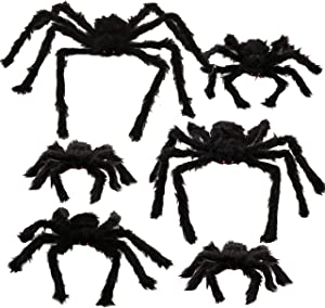 "Halloween Realistic Hairy Spiders Set (6 Pack), Halloween Spider Props, Scary Spiders with Different Sizes for Indoor and Outdoor Decorations (35"", 30"", 24"" 17.5"", 12"", 12"")"