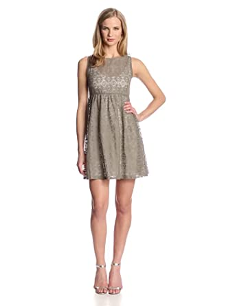Only Hearts Women's Piece Of My Heart Lace Babydoll Tank Dress Lined, Khaki, X-Small