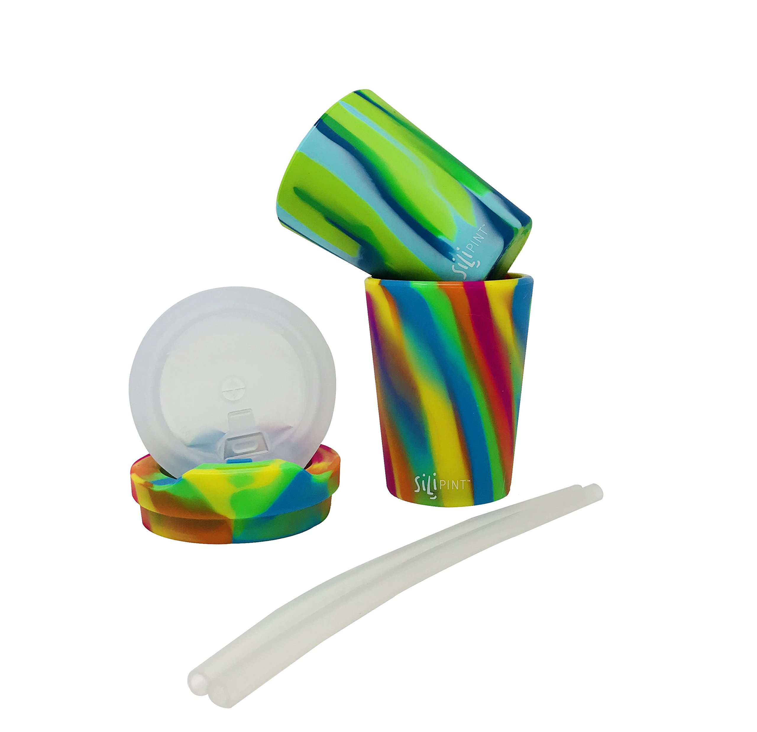Silipint Silicone Kids Cups Sea Swirl & Hippie Hops, U.S. Patented, BPA-Free, Unbreakable, Sealable Lid, Silistraws Included - Safe For Car Rides, Camping, Sports, Life! (2 Cups/Lids and Straws)