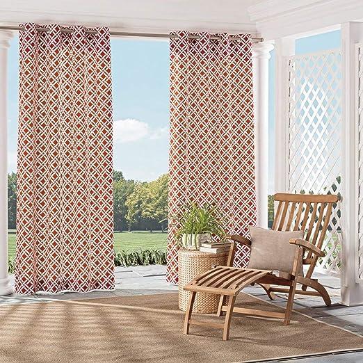 1 pieza Color cinabrio Color patrón geométrico laterales cortina ...