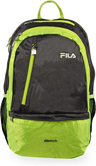 Fila Duel Tablet and Laptop Backpack, Grey/Lime, One Size