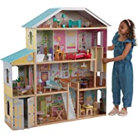 KidKraft KidKraft Majestic Mansion Wooden Dollhouse with 34-Piece Accessories, Working Elevator and Garage ,Gift for…