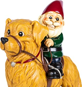 KwirkWorks Garden Gnome - Golden Retriever Lawn Statue Figurine - 10 inches Tall