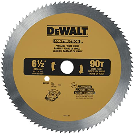 Dewalt Dw9153 6 1 2 Inch 90 Tooth Paneling And Vinyl Cutting Saw Blade With 5 8 Inch Arbor Amazon Ca Tools Home Improvement
