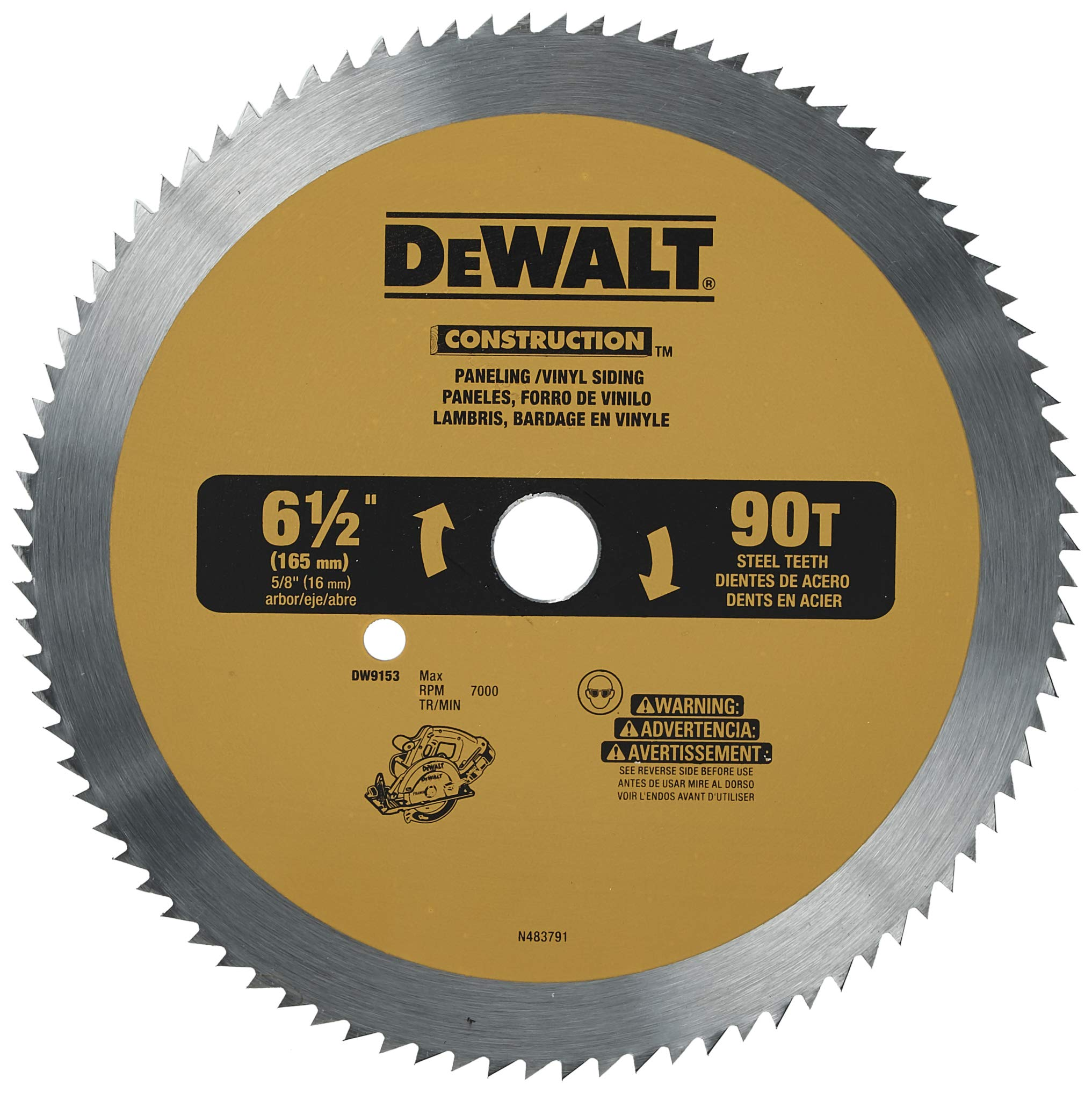 DEWALT 6-1/2-Inch Circular Saw Blade for Paneling/Vinyl, 90-Tooth (DW9153)