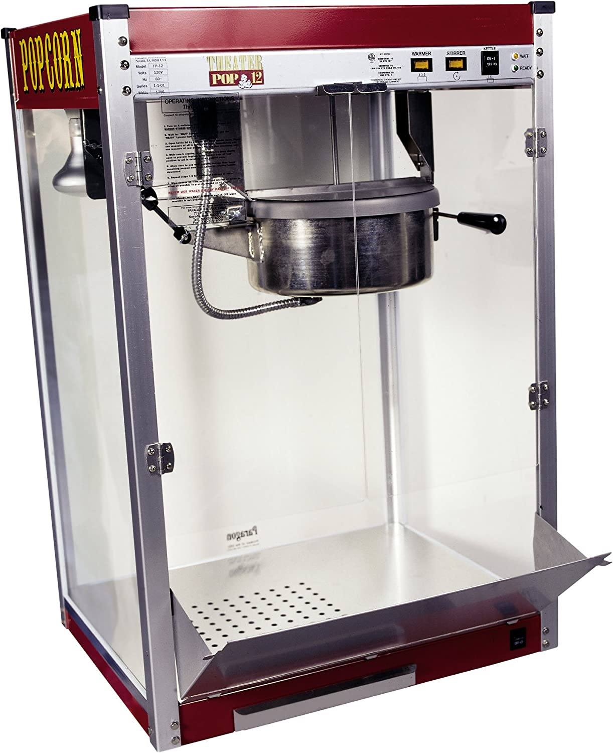 Paragon Theater Pop 12 Ounce Popcorn Machine for Professional Concessionaires Requiring Commercial Quality High Output Popcorn Equipment