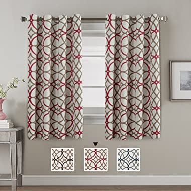 H.VERSAILTEX Thermal Insulated Blackout Window Room Grommet Curtain Drapes-52 inch Width by 63 inch Length-Set of 2 Panels-Taupe and Red Geo Pattern