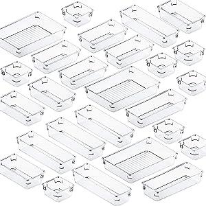 Fixwal 26pcs Clear Drawer Organizer Set 4 Size Drawer Tray Dividers Organizers Versatile Kitchen Utensil Bathroom Office Storage Divider Bin for Desk Dresser Vanity Cabinet