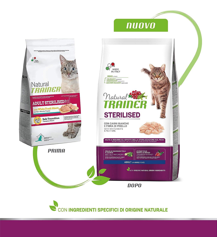 Trainer Natural Cat Sterilised Adult con Carni Bianche e Fibra di Pisello 3 kg 3000 Gr