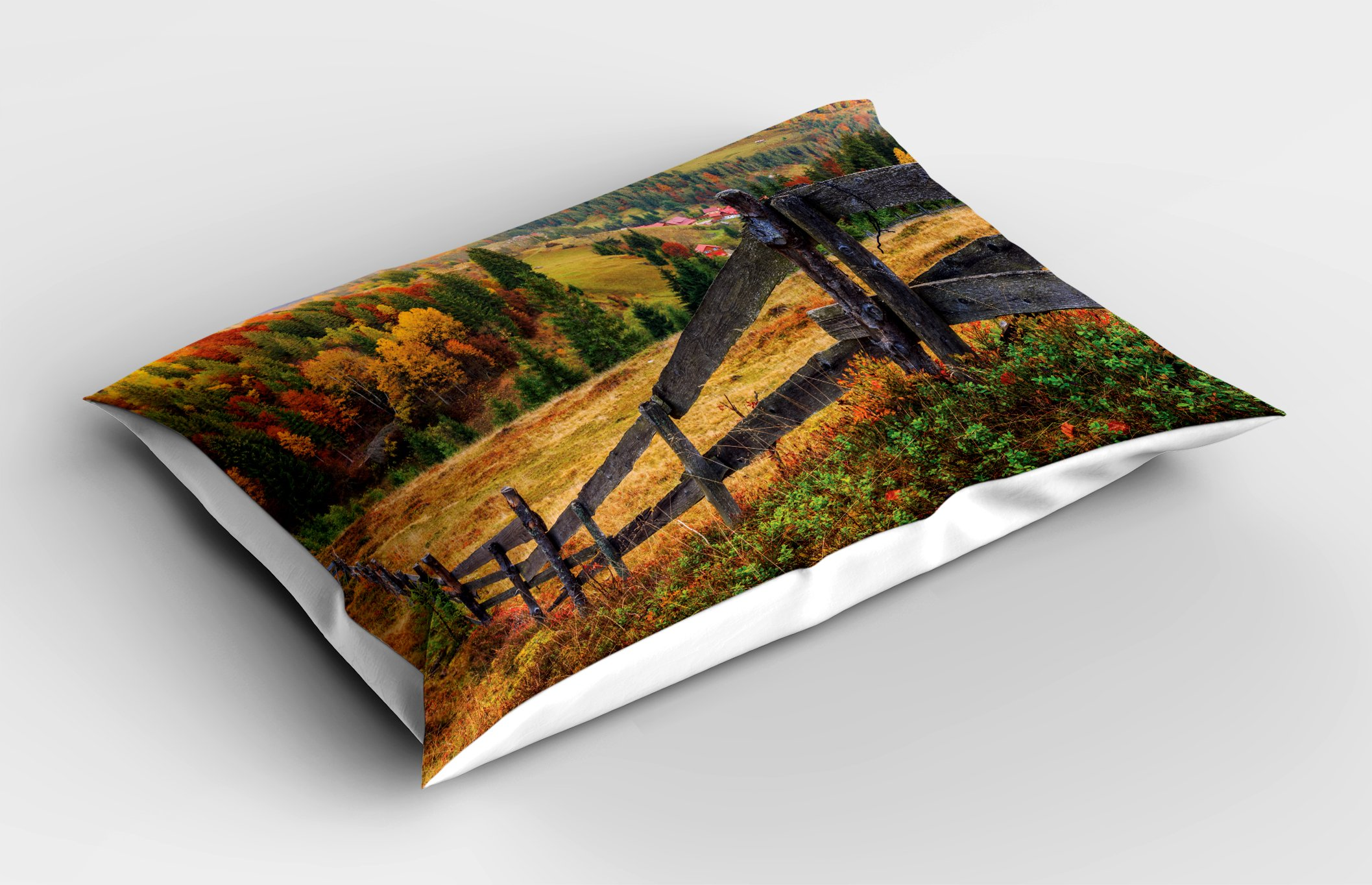 Lunarable Landscape Pillow Sham, Colorful Autumn Scene with Old Wood Fence on Meadow Countryside Fall Image, Decorative Standard Queen Size Printed Pillowcase, 30 X 20 inches, Green Yellow by Lunarable (Image #2)