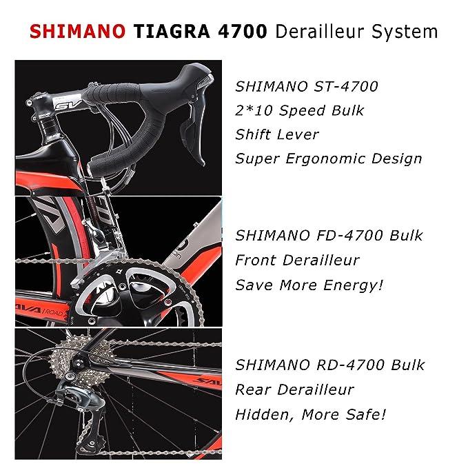 SAVA 700C Bicicleta de Carretera de Fibra de Carbono SHIMANO 4700 20-Velocidad Sistema (Negro Blanco Naranja): Amazon.es: Deportes y aire libre