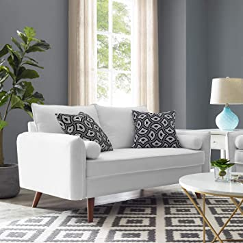 Fine Modway Revive Contemporary Modern Fabric Upholstered Sofa In White Ncnpc Chair Design For Home Ncnpcorg