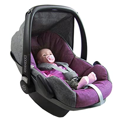 BAMBINIWELT Ersatzbezug für Maxi-Cosi PEBBLE 5-tlg, Bezug für Babyschale, Komplett-Set *NEU* GRAU/PINK *NEU*