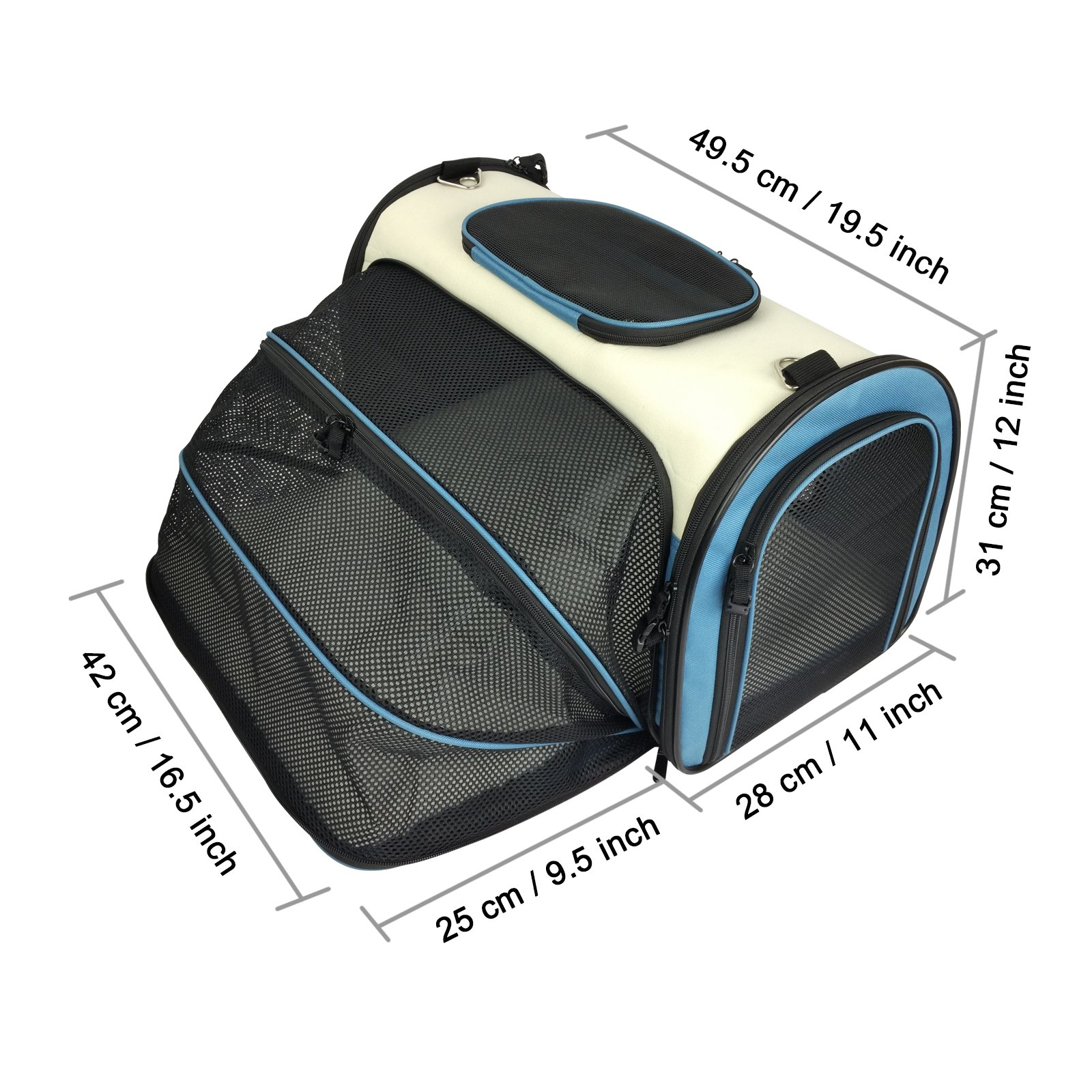 Becko Expandable Foldable Pet Carrier Travel Handbag with Padding and Extension (Blue)