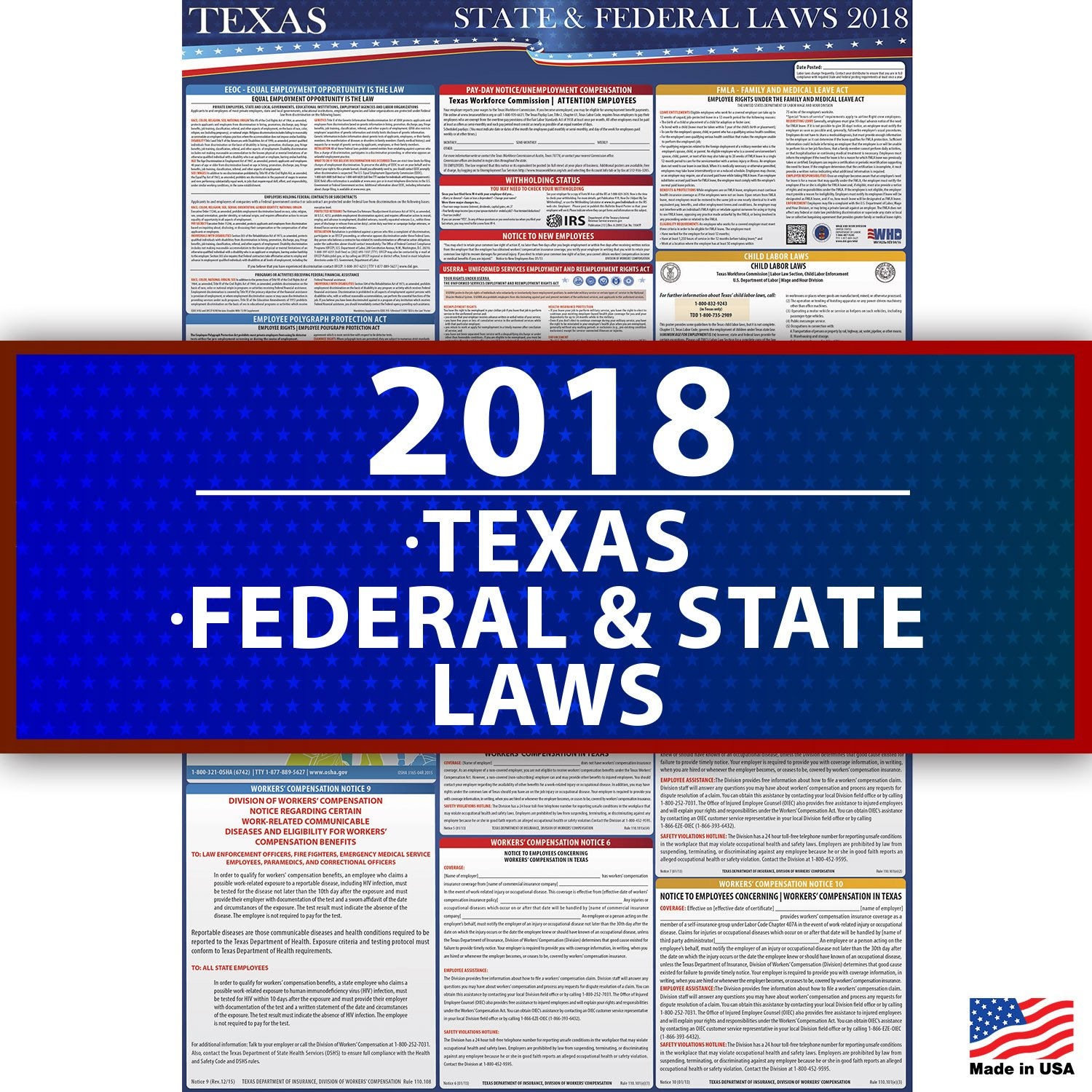 2018 Texas Employment Labor Law Poster - State & Federal Compliant - OSHA Compliant by Compliance Audit Center (Image #1)