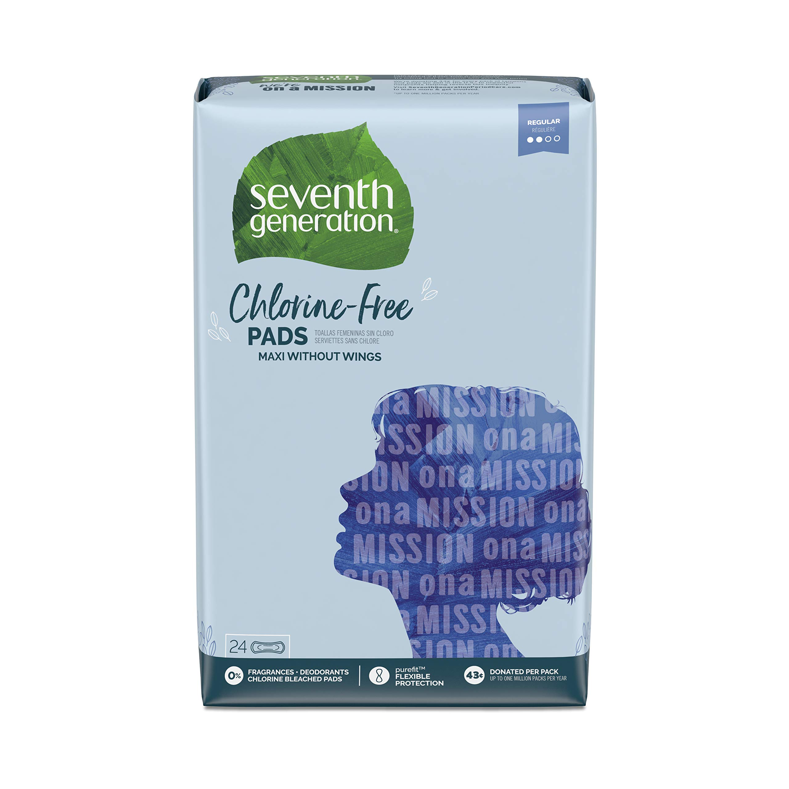 Seventh Generation Maxi Pads, Regular Absorbency, Chlorine Free, 24 count, 12 Pack (Packaging May Vary) by Seventh Generation