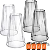 4 Pack Mosquito Head Net Face Mesh Net Head Protecting Net for Outdoor Hiking Camping Climbing Walking Mosquito Fly Insects Bugs Preventing (Big Size, Grey, Black)