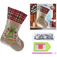 Meias de Natal 5D com pintura de diamantes, meias de Natal para decoração de casa, ornamentos de Natal com pintura de…