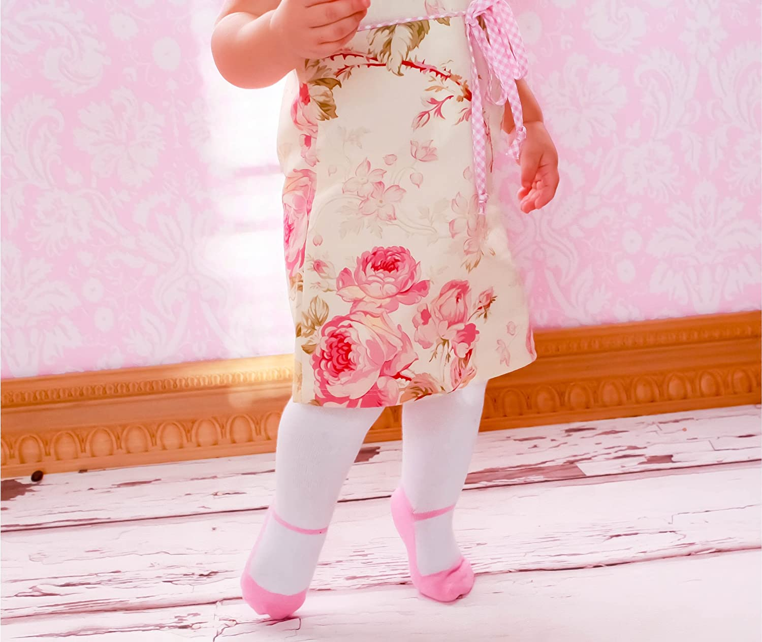 Baby Infant Toddler Shoe Look Tights Anti Slip Soles Soft Cotton Knit Mary Jane