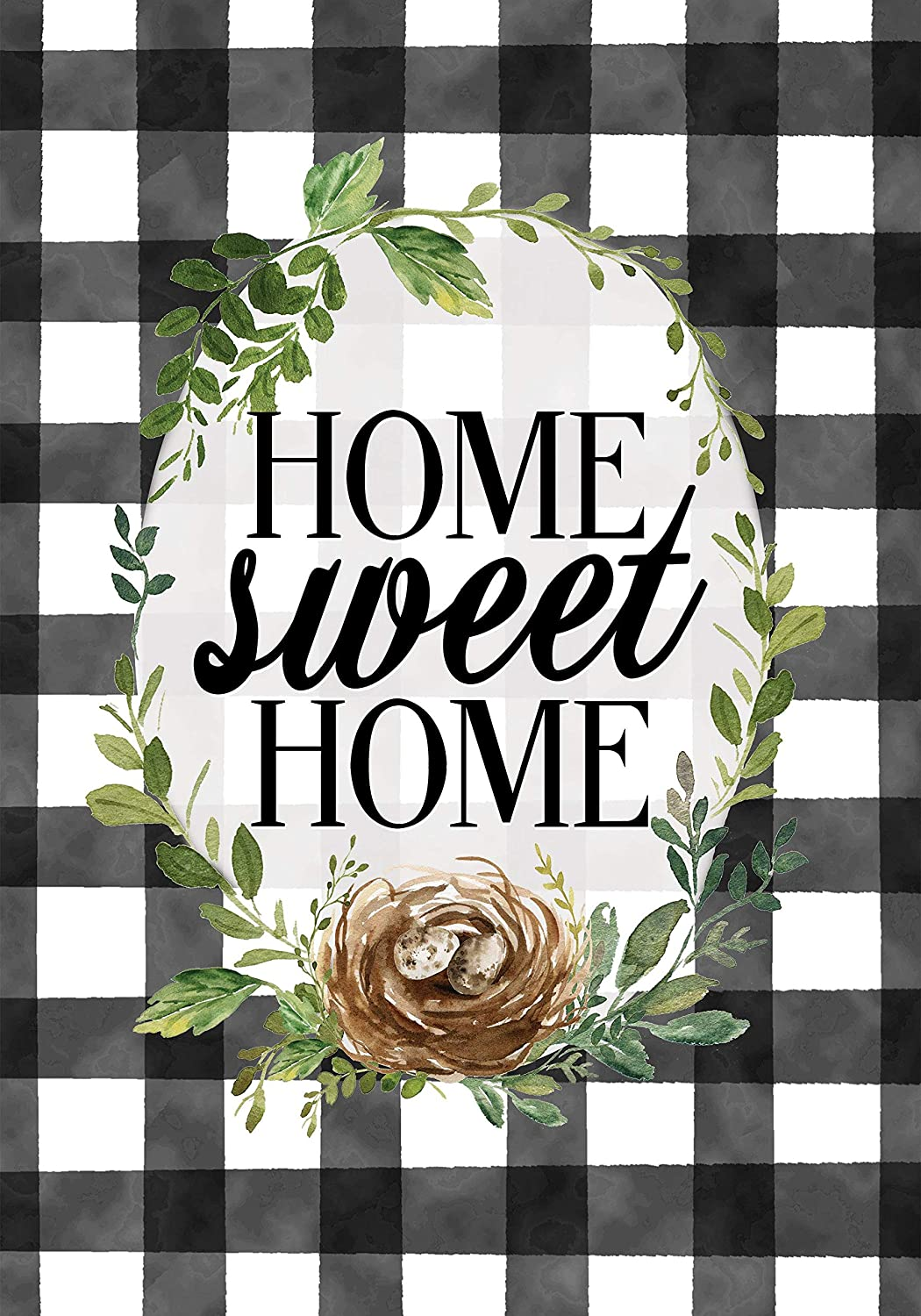 Custom Decor Gingham Home Sweet Home - Standard Size, 28 x 40 Inch, Decorative Double Sided, Licensed and Copyrighted Flag - Printed in The USA Inc.