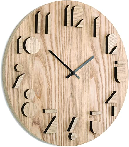 Umbra Shadow Wall Clock, Decorative Wooden Wall Clock, Made from Natural Wood, Doubles as Wall D cor, 16 inch Diameter