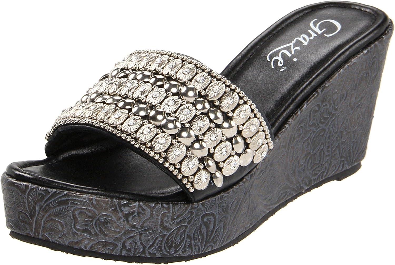 Grazie Women's Bracelet Wedge Sandal B0057DRX78 5.5 B(M) US|Black