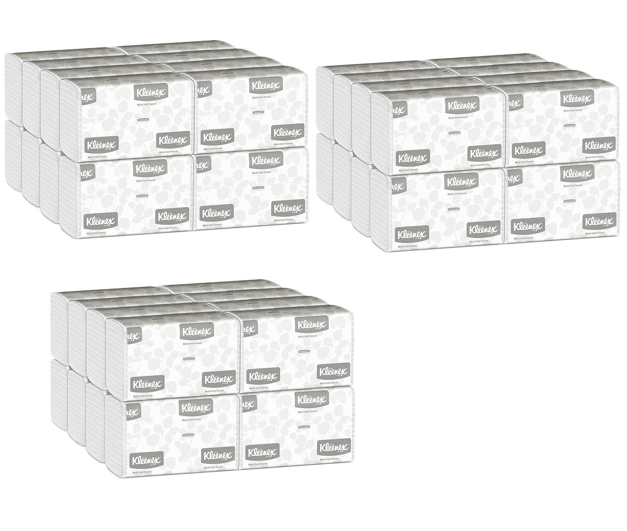 Kleenex Multifold Paper Towels (01890), White, Case of 48 Packs vLCahU, 150 Tri Fold Paper Towels per Pack