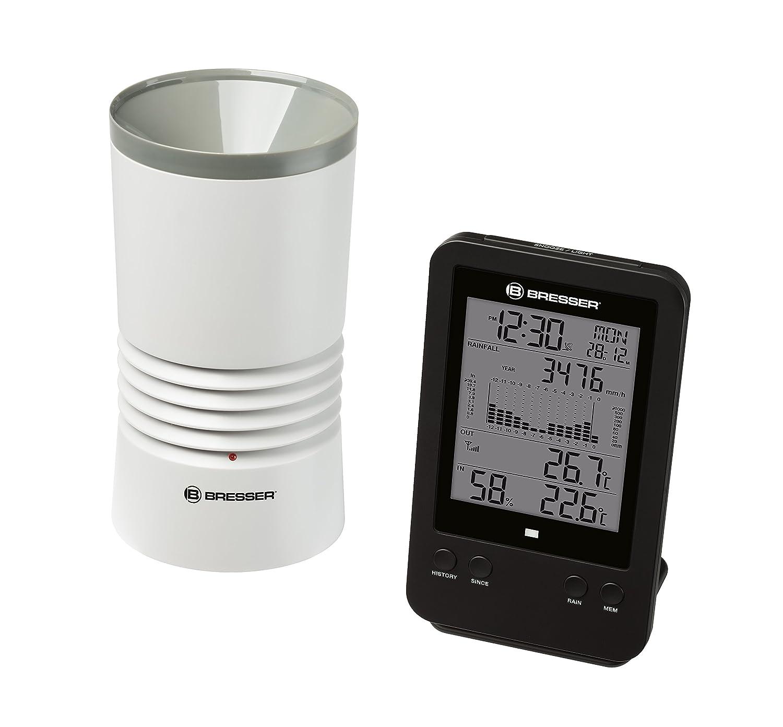 Bresser Profi Regenmesser Station mit DCF Funkuhr, Wecker, Außentemperatur, Innentemperatur und Innenluftfeuchtigkeit mit Hintergrundlicht und Datenspeicherung von Tiefst- und Höchstwerten Außentemperatur 7002530