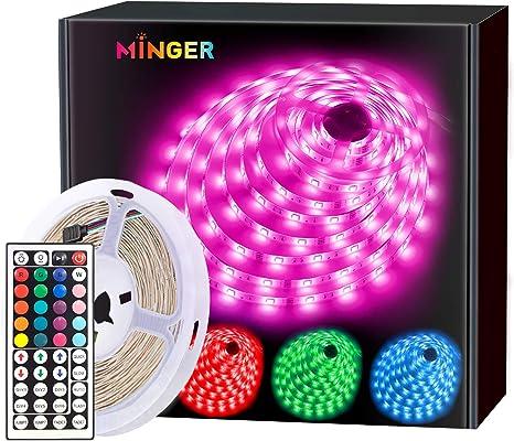 Amazon Com Minger Led Strip Lights 16 4ft Rgb Color Changing Led Lights For Home Kitchen Room Bedroom Dorm Room Bar With Ir Remote Control 5050 Leds Diy Mode Home Improvement