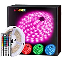 MINGER LED Strip Lights 16.4ft, RGB Color Changing LED Lights for Home, Kitchen, Room, Bedroom, Dorm Room, Bar, with IR…