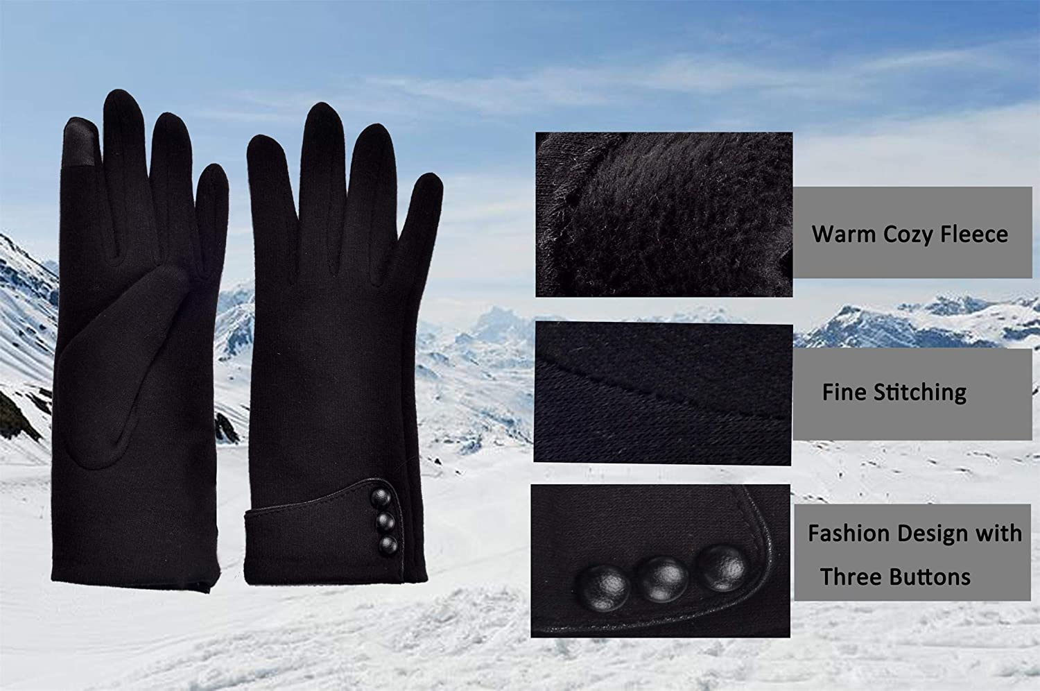 Womens Lady Winter Warm Gloves Touch Screen Phone Windproof Lined Thick Gloves