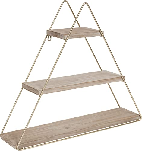 Kate and Laurel Tilde Small Three Tiered Triangle Floating Metal Wall Shelf, Rustic Light Brown Gold