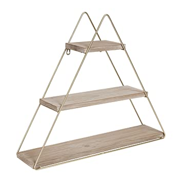 best website de235 4c8e9 Kate and Laurel Tilde Small Three Tiered Triangle Floating Metal Wall  Shelf, Rustic Light Brown/Gold