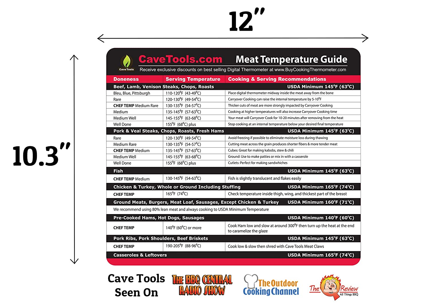 Amazon meat temperature magnet large font internal temp amazon meat temperature magnet large font internal temp guide outdoor chart of all food for kitchen cooking use digital thermometer probe for nvjuhfo Images