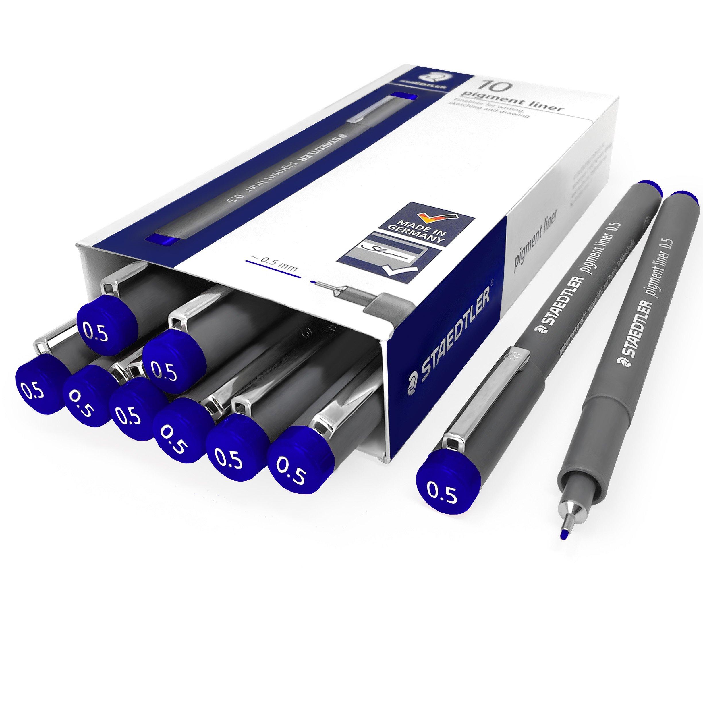 Staedtler 308 Pigment Liner Fineliner - 0.5mm - Pack of 10 - Blue