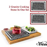 Artestia Double Cooking Stones in One Sizzling Hot Stone Set,Stainless Steel Tray,Bamboo Platter,Ceramic Side Dishes…