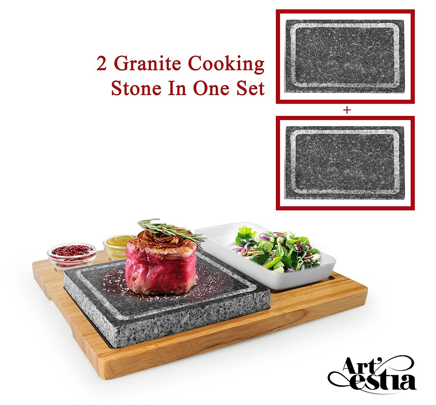 Artestia Double Cooking Stones in One Sizzling Hot Stone Set,Stainless Steel Tray,Bamboo Platter,Ceramic Side Dishes,Deluxe BBQ/Hibachi/Steak Grill (Deluxe Set with Two Stones on One Bamboo Platter) by Artestia