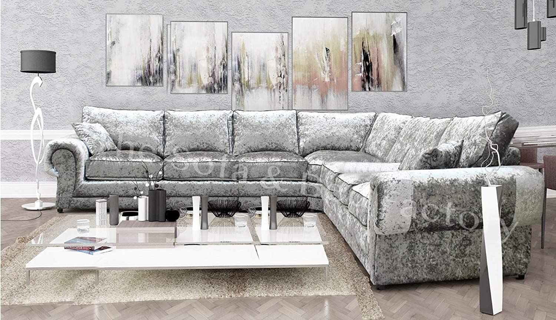 Details about Cheap Luxury Lara Crushed Velvet Extra Large 7 Seater Corner  Sofa Silver L Shape