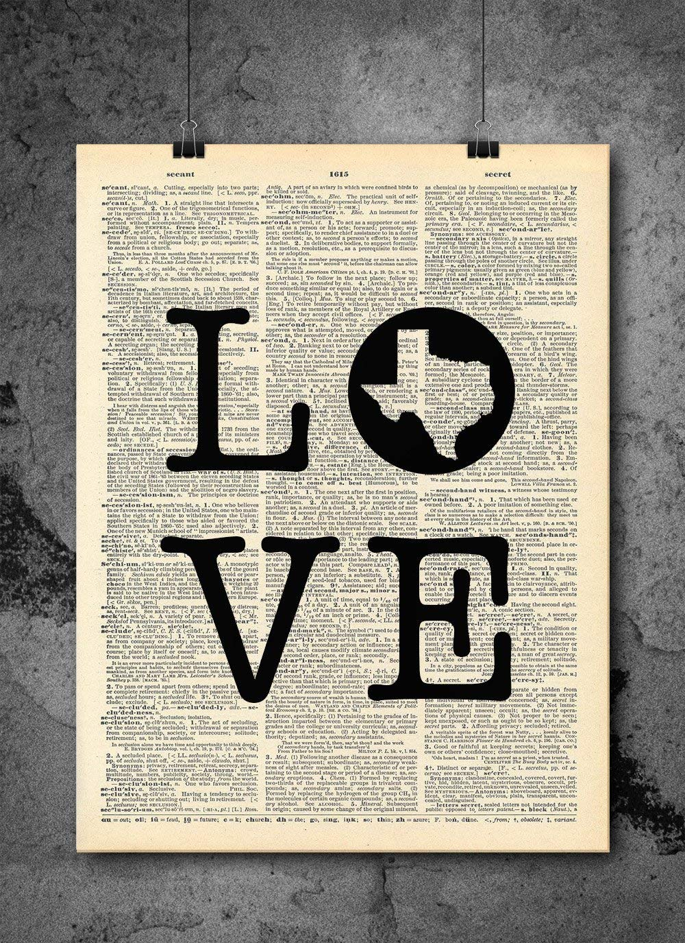 Texas Wall Art - Love Home - Dictionary Art Print - Vintage Dictionary Print 8x10 inch Home Vintage Art Wall Art for Home Wall For Living Room Bedroom Office Ready-to-Frame