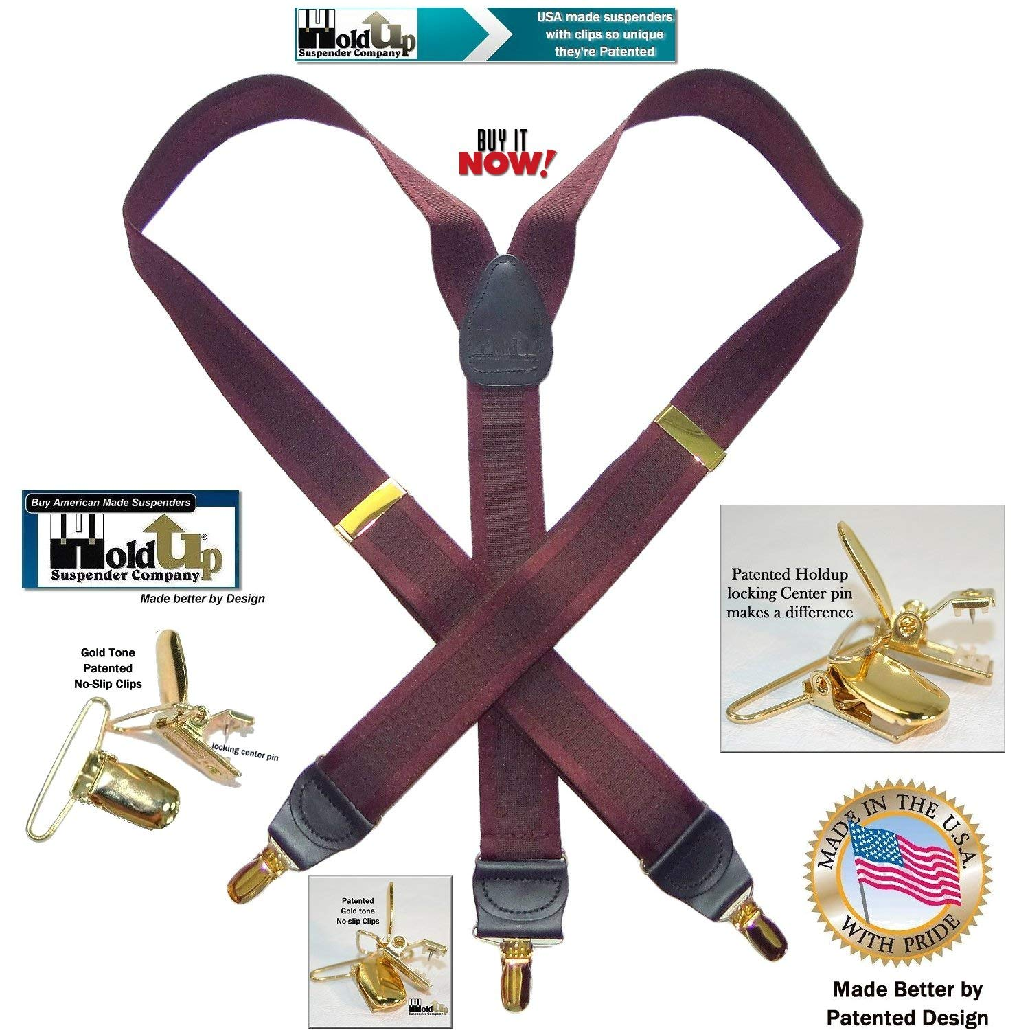 Holdup Brand American made Cordovan Burgundy Y-back suspenders with Tone-on-Tone Jacquard Weave and Gold-tone No-Slip clips Holdup Suspender Company Inc 3001YG