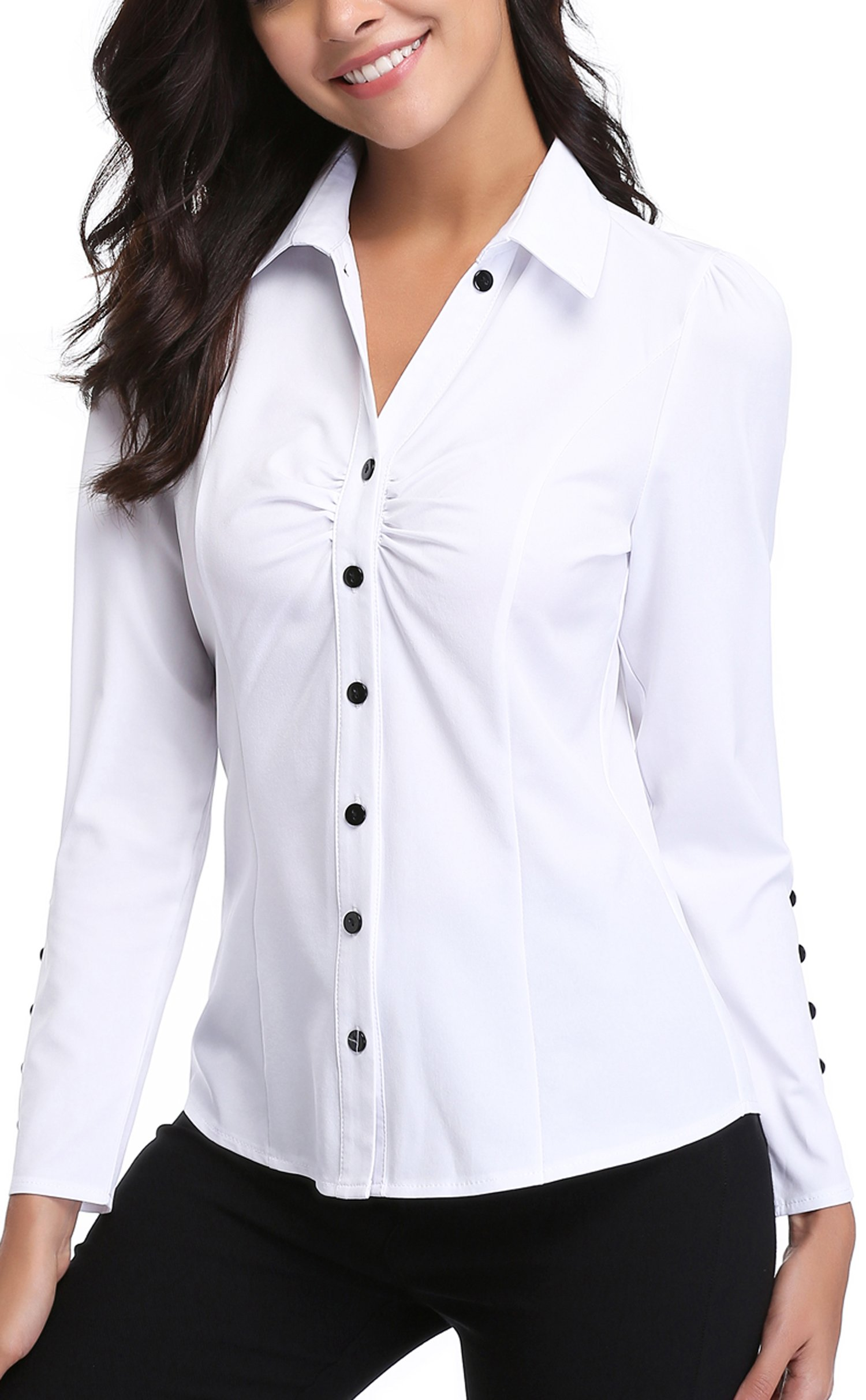 MISS MOLY Women's White Button Down Shirt V Neck Collar Puff Sleeve Office M by MISS MOLY (Image #4)