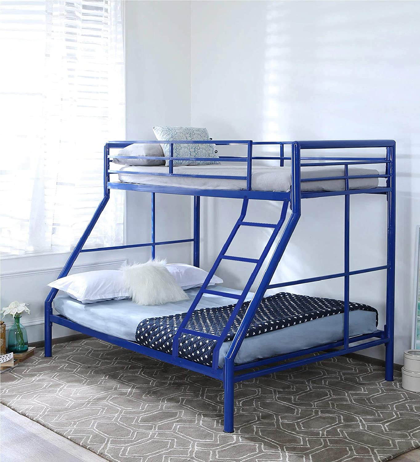 Royal Interiors Parsons Twin Metal Bunk Cot Bed Queen Bottom And Single Top Frame Only Mattress Not Included Amazon In Home Kitchen