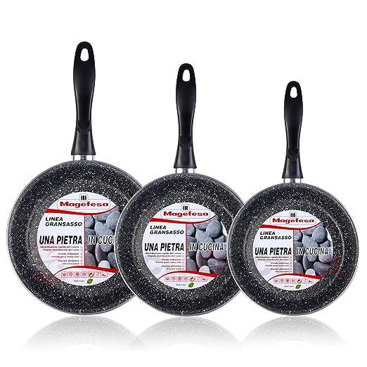 Magefesa K2 Gransasso - Set Juego 3 Sartenes 18-22-28 cm, inducción, Antiadherente Piedra Libre de PFOA, Limpieza lavavajillas Apta para Todas Las ...